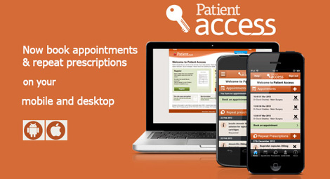 Patient access. Now book appointments and repeat prescriptions on your mobile and desktop